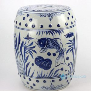 RYLL42 Hand painted blue and white fish pattern porcelain garden seats