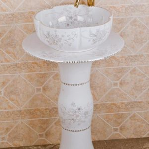 ZY-0102 High quality ceramic banquet white pedestal foot porcelain round sink basin bowl