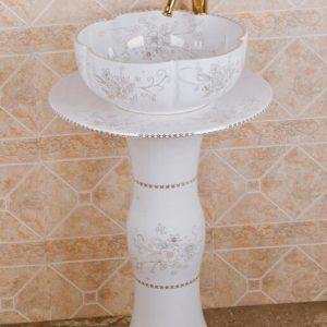 ZY-0102 High quality ceramic banquet white pedestal foot porcelain round sink basin bowl