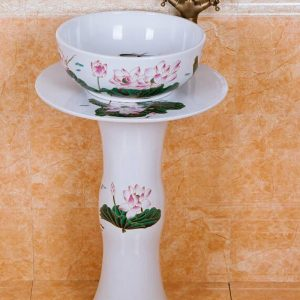 ZY-0104 Middle east style luxury contemporary art white ceramic pedestal sink basin