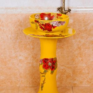 ZY-0105 Bright yellow colored and beautiful peony flower pattern ceramic pedestal sanitary ware