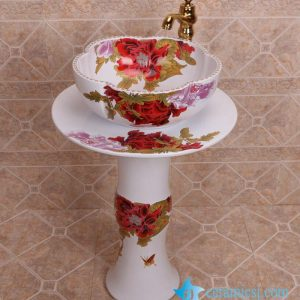 ZY-0108 China bathroom sink supplier factory direct price red flower pattern outdoor toilet hotel restaurant bathroom sink table, sink pedestal,sink basin