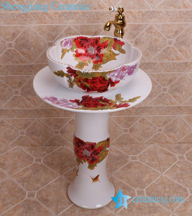 ZY-0108 China bathroom sink supplier factory direct price red flower ...