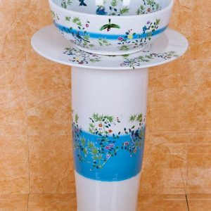 ZY-0109 Round column pedestal foot art ceramic sink basin vanity sink