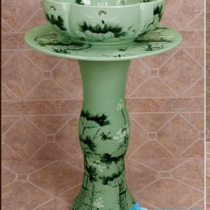 ZY-0111 China bathroom sink supplier factory direct price lotus flower pattern outdoor toilet hotel restaurant bathroom ceramic sink table, sink pedestal,sink basin
