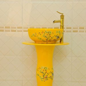 ZY-0113 China produced hot sale cheap price fancy yellow ceramic vitreous enamel pedestal sink lavatory sink bowl