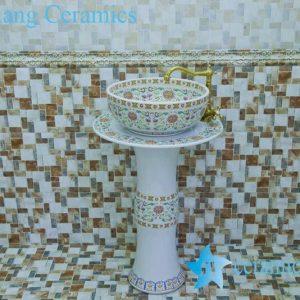 ZY-0114 beauty salon furniture ceramic irregular shape pedestal white sink basin bowl