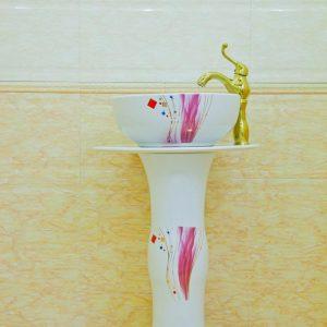 ZY-0116 Wave column modern style pedestal foot ceramic art sink basin vanity sink