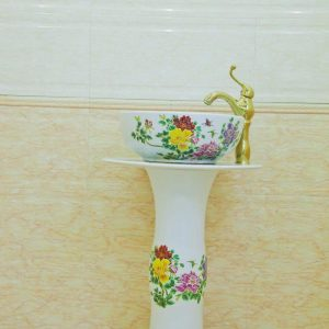 ZY-0117 Middle east style luxury contemporary art ceramic pedestal sink basin