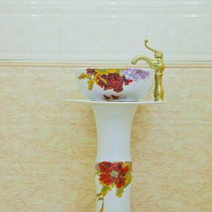 ZY-0118 High quality ceramic red peony flower pattern white pedestal foot porcelain round sink basin bowl