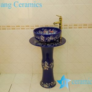 ZY-0119 Flow blue plum blossom pattern ceramic freestanding sanitary ware