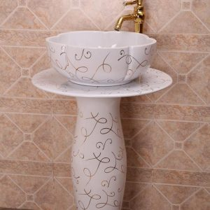 ZY-379A0024 China hot sale cheap price gorgeous flower irregular shape ceramic vitreous enamel pedestal sink lavatory sink bowl