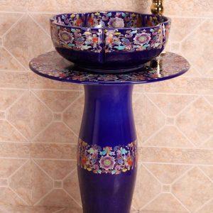 ZY-379A0043 High quality flower pattern deep blue ceramic pedestal foot porcelain irregular shape table ware sink basin bowl
