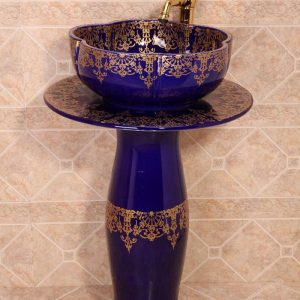 ZY-379A0196 Modern bathroom hotel restaurant club style golden plated blue contemporary art ceramic pedestal sink basin