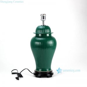 DS58-RYMA Dark green bright surface bamboo style oriental jar lamp