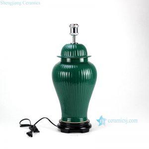 DS58-RYMA Dark green bright surface bamboo style oriental jar lamp