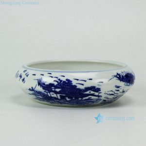 RYIQ26 Blue and white water towns in southern yangtze river pattern small ceramic plant pot