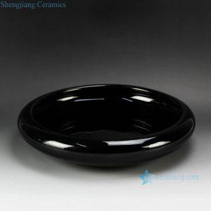 RYIQ27-B Plain color glaze black ceramic garden pot