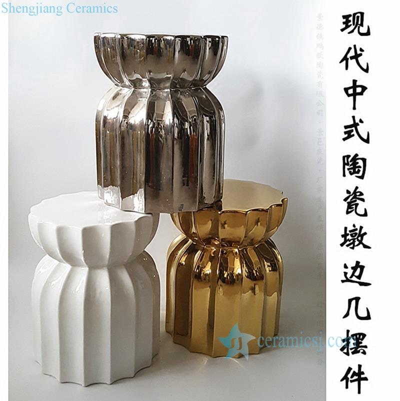 RYIR111 Silver plated multi-prismatic waisted shape ceramic patio stool