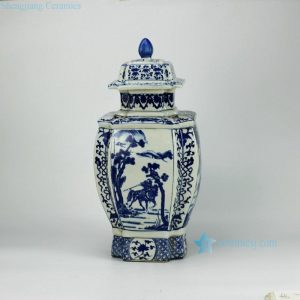 RYJF31-OLD Blue and white vintage cermaic Chinese jar