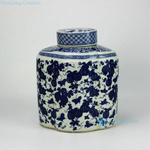 RYJF52-OLD Reproduction home decoration blue and white ceramic jar with flat lid