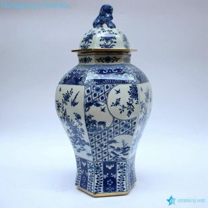 RYJF63 RYJF63-B Blue and white ceramic oriental jar with lion knob