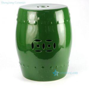 RYKB111-C Plain color glazed green ceramic cheap stool