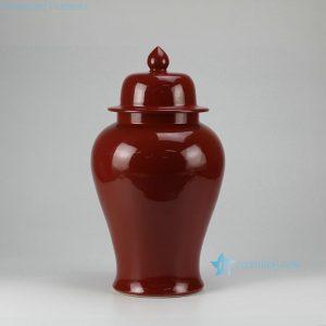 RYKB115-D Oxblood solid color glazed ceramic temple jar for sale