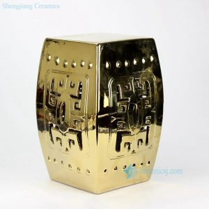 RYKB118-C Gold gilded hallow out ceramic square outdoor seat