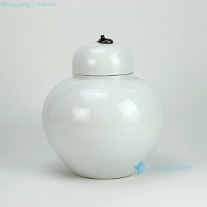 RYKB123-E Plain color white bright surface ceramic chinese jars and pot