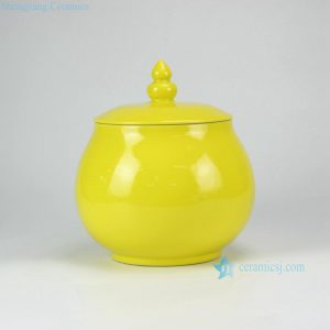 RYKB129 Lemon yellow glazed flat lid with metal ring collectible cookie jar