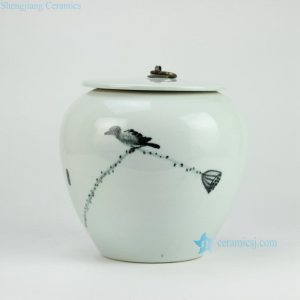 RYKB130 Bird and lotus seed pattern elegant wholesale cookie jar