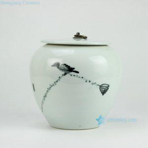 RYKB130 Bird and lotus seed pattern elegant wholesale cookie jar