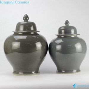 RYKB139 Pair jar grey plain glazed ceramic lidded ginger jar