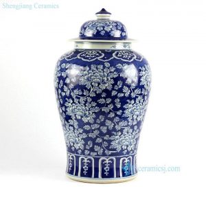RYLU47-S Blue and white floral pattern chinese blue and white ginger jar