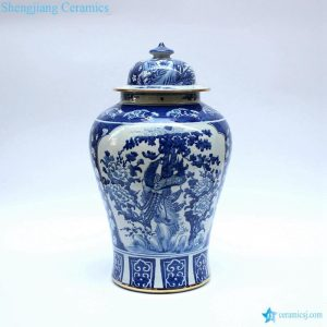 RYLU48-A Phoenix floral pattern gold line plated chinese porcelain ginger jar
