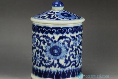 RYLU59-A-E Blue and white treasure storage lidded tin jar