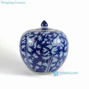 RYLU68-A-D Oriental Chinese hand painted blue and white porcelain vintage cookie jar