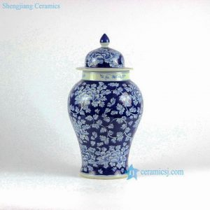 RYLU69-A Peony flower and branch pattern blue and white ginger pot