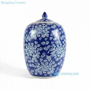 RYLU71-A-C Elegant blue and white ceramic wholesale cookie jar