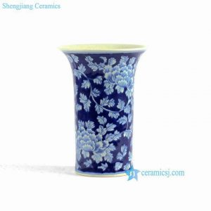RYLU75 PEONY flower pattern hand painted blue and white ceramic vases for cheap
