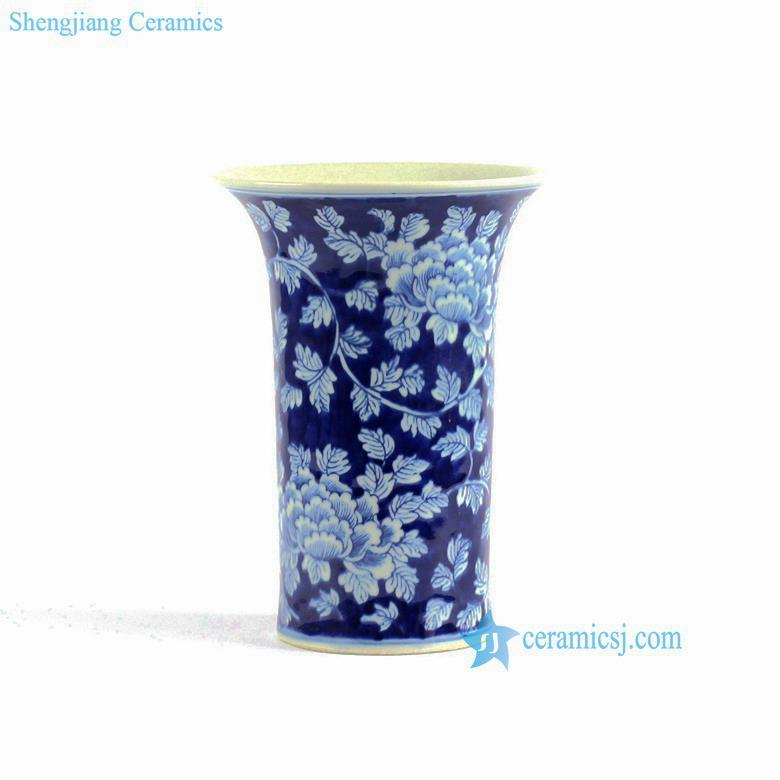 Rylu75 Peony Flower Pattern Hand Painted Blue And White Ceramic