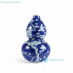 RYLU76-A/B calabash shaped blue and white hand painted ceramic vases wholesale