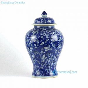 RYLU77-A-C Hand painted blue and white porcelain collectible cookie jar