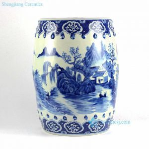 RYLU78 Hand painted blue and white folksy country life pattern porcelain Chinese garden stool