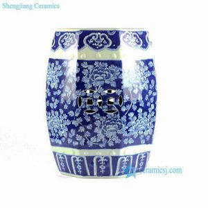 RYLU79-8SIDE Hand painted peony pattern blue and white 8 sides ceramic stool online sale