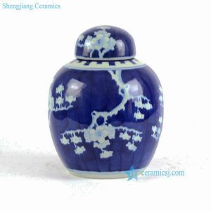 RYLU80 Blue and white hand painted plum blossom pattern Small tea jar