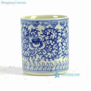 RYLU81 Hand painted blue and white floral pattern straight tube shape porcelain pen holder