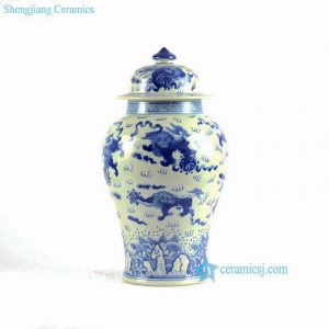 RYLU83 RYLU83-B chinese ginger jars blue and white hand painted