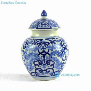 RYLU84-A-C Hand painted blue and white small porcelain vintage cookie jar